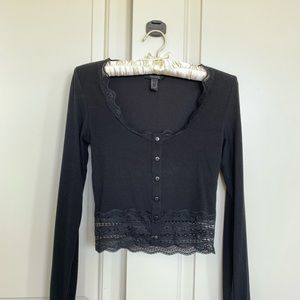 Forever 21 Black Lacy Long Sleeve Top